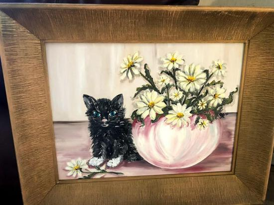 Cat Picture with Wooden Frame