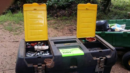 Toolbox with Harley Davidson motorcycle parts