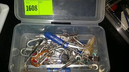 Box of snap grins, D rings, screwdriver and misc