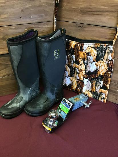 Muds Boots, Horse bag & Reese Drop Hitch