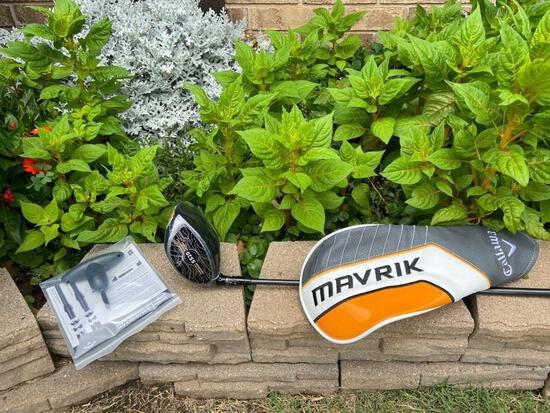 Callaway Mavrik Driver, Matching Mavrik head cover and adjustment tool included.