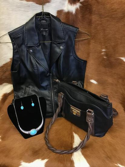 Vest, Purse & Jewelry- Silver & Turquoise