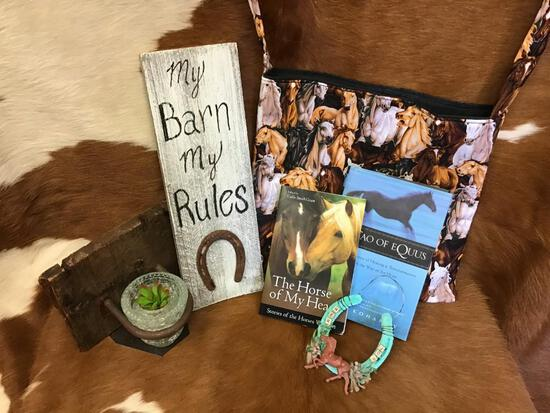 Vintage horseshoe and Rustic wall hanging, Travel bag & Books