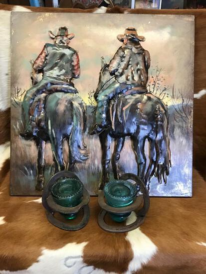 Cowboy Wall Art & 2 Wall Sconces