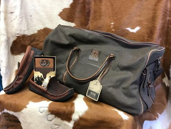 Travel Bag, Leather Billfold & Leather Loafers
