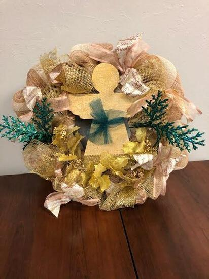 Gold & Turquoise Angel Wreath