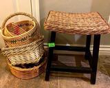 Wicker Stool w/ Wicker Baskets