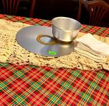 Antique Metal Platter and Bowl/ Lace Table Cloth