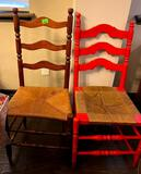 2 Antique Wooden Wicker Chairs