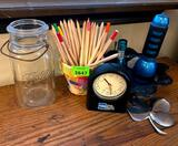 Clock, Studio Pencils, Mason Jar, Flashlights, Glass Jar