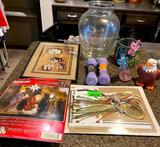 Cross Stitch Decor, Vases, Weights, and Picture