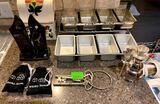 Knife Sharpener, Recipe Box with Recipes, Skeleton Keys, Bread Pans