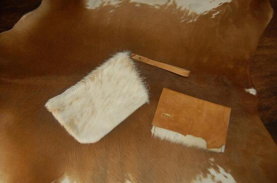 Cowhide Fold-over Wallet and Wristlet