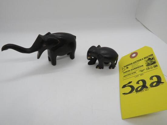 EBONY WOOD HAND CARBED ELEPHANTS