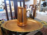ANTIQUE OLD VINTAGE COPPER PITCHER AND TRAY