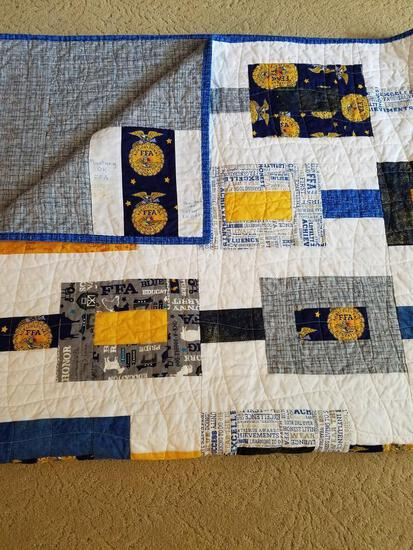 "Handmade FFA themed quilt.... 63"" x 63"" hand sewn and quilted FFA quilt."