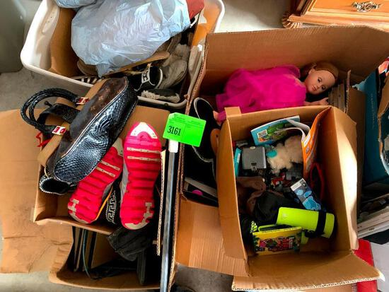 Purses, shoes, toys pictured