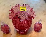 Fenton 3 Vases, 2 Bottles, Glass