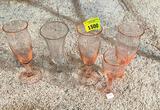 4 Pink Stems, 1 Clear Stem, Glass
