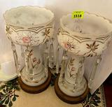 2 White w floral Glassware Lusters