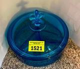 Fostoria Deep Blue Divided Candy Dish w Lid