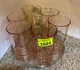 Pale Pink Round Handled Tray with 5 Glasses