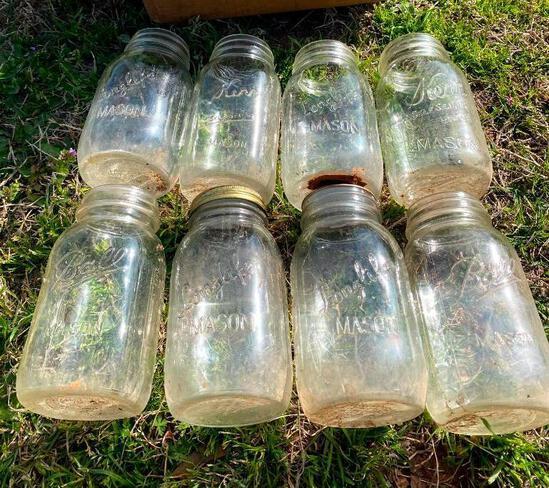 8 Fruit Jars Quart Size