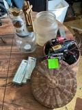 Basket full of small tools 150 watts light, 2 jars and more