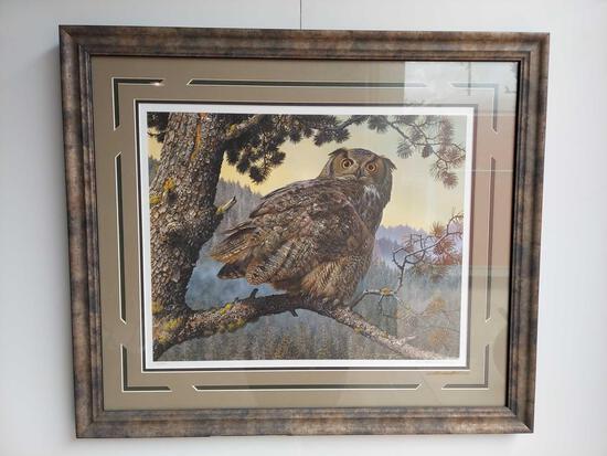 Framed Silent Hunter-Great Horned Owl by Carl Benders