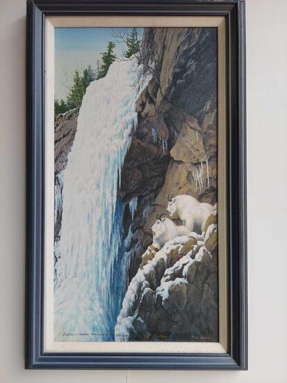 Framed Mountain Goats on Ledge