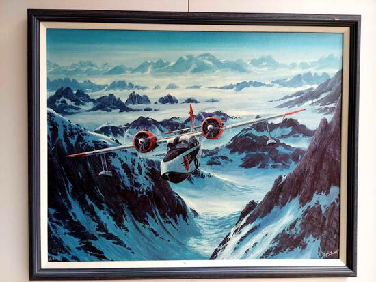 Framed Flying Boat Over Mountain Pass