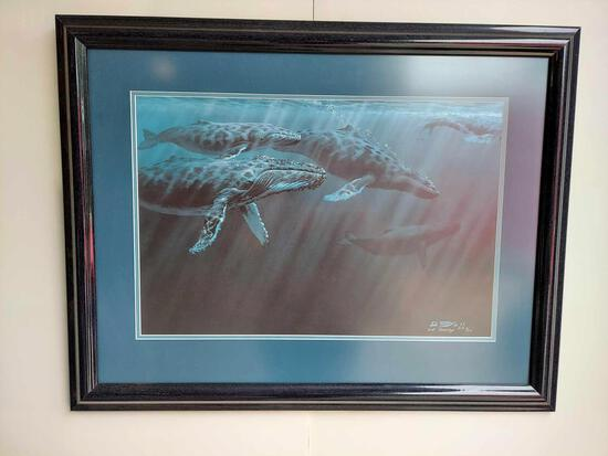 Framed Humpback Whales by Ed Tussey