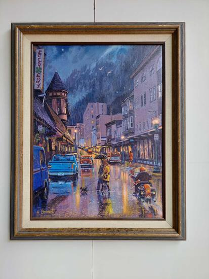 Framed Rainy Busy City Street