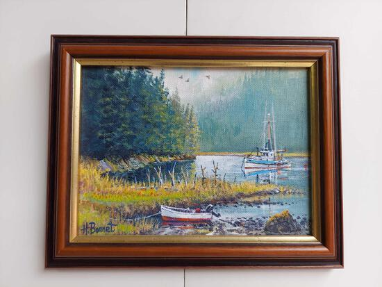 Framed Fishing on The Lake by H. Bonnet