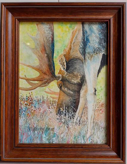 Framed Bull Moose Art