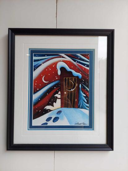 Framed Wolf Howling at Moon by Nathalie Parenteau