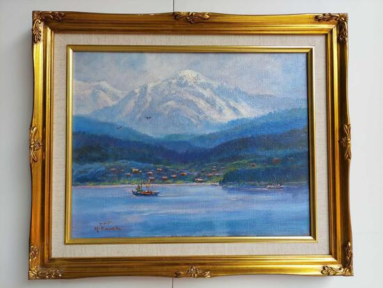 Framed Fishing by Mountains by Scott McDaniels