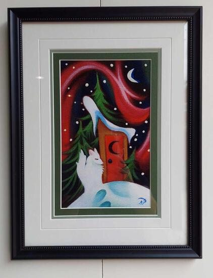Framed Wolf Under Moonlight by Nathalie Parenteau