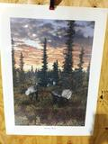 Print Caribou Dusk By Ed Tussey