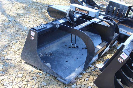 "66"" single cylinder smooth bottom tomahawk grapple bucket"