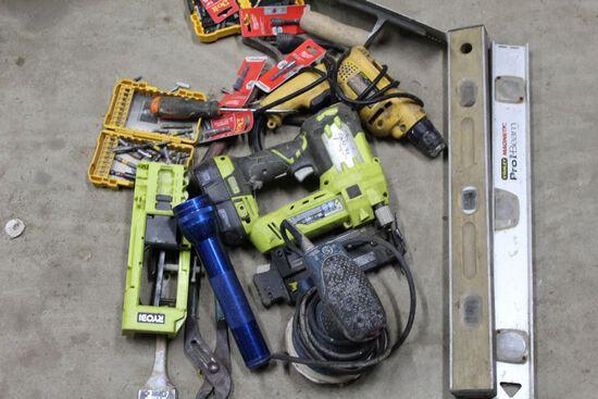 Ryobi Nail Gun, Dewalt Drill, Drill bits, Pry Bar and levels