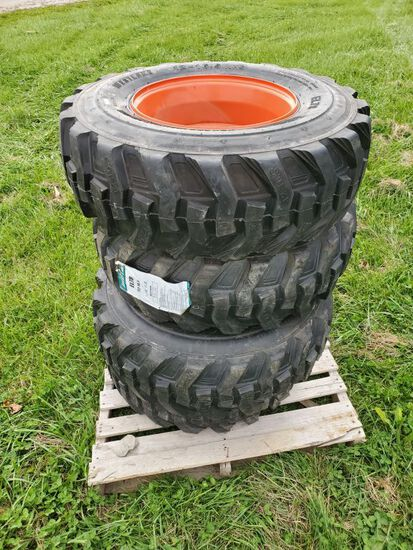 12X16.5 SKID LOADER TIRES WITH WHEELS