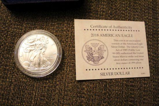 2018 1 oz American Eagle silver dollar coin