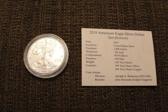 2019 1 oz American Eagle silver dollar coin
