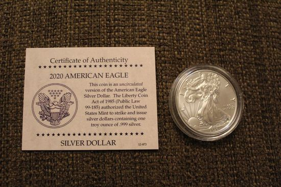 2020 1 oz American Eagle silver dollar coin
