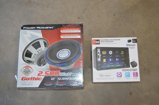 Multimedia DVD receiver and 2500 watt subwoofer