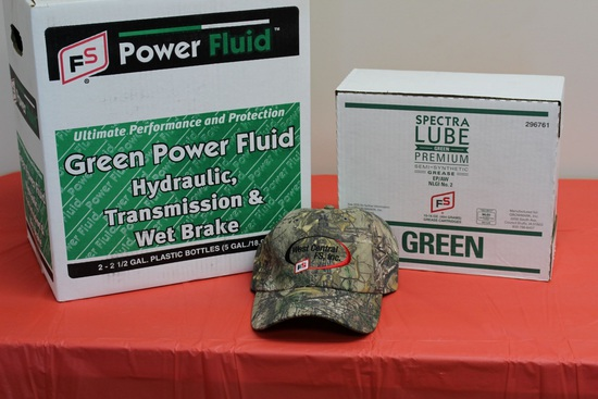 Green Power Fluid (5 Gallons),  Spectra Lube (10-16oz tubes), and FS Camo Hat.