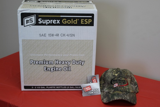 Premium Engine Oil 15w40 (5 Gallons), (2) $25 Fast Stop Gift Cards, and FS Camo Hat.