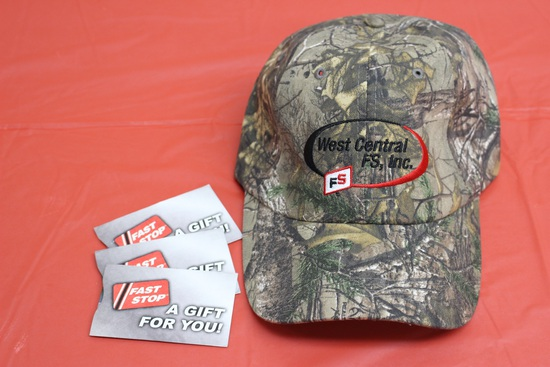 (3) $25 Fast Stop Gift Cards, FS Camo Hat. Donated by West Central FS, Jim McNelly