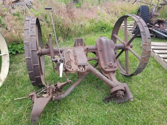 McCormick-Deering No. 7 Sickle Mower Frame on Steel Wheels